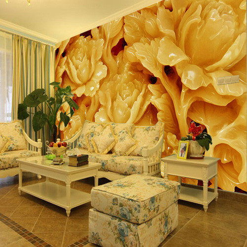 High quality Chinese 3D three-dimensional embossed Jade Flower large 3D mural wallpaper liviing room TV background wallpaper  artificial jade embossed ring