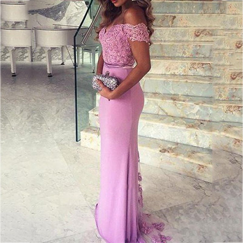 New Arabic Sexy Cap Sleeve Mermaid   Bridesmaid     Dresses   2018 Lace Appliques Backless Long Party   Dress   Formal Simple Prom Gowns