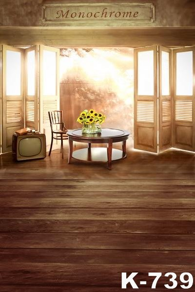 Warm Family Portrait Backdrops Photo Studio Photography 5x7ft Sunflowers Flowers Vintage Wood Floor Backgrounds For Wedding New