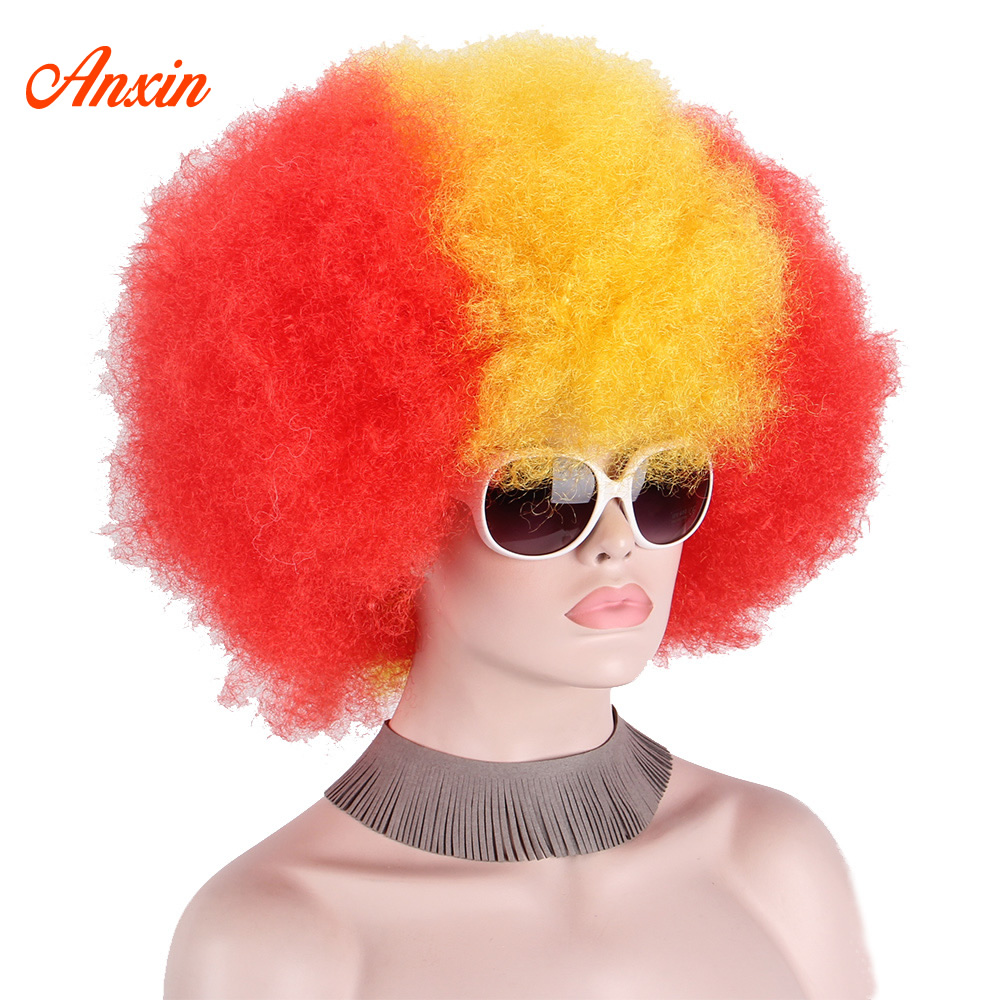 Synthetic Wigs Afro Clown Wig Big Top Fans Party Wigs Women Men Kids Curly Football Fans Wig None Lace Wigs Synthetic Hair Unsex