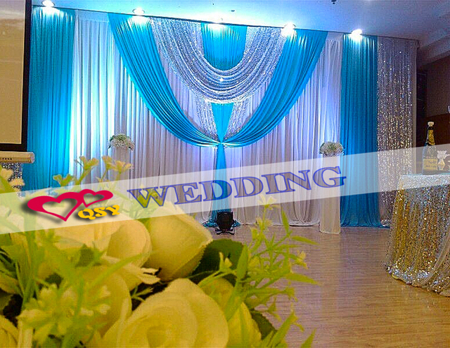 Wedding Decoration Stage Backdrop Ice Silk Cloth Double Fold Personalized Brief Elegant