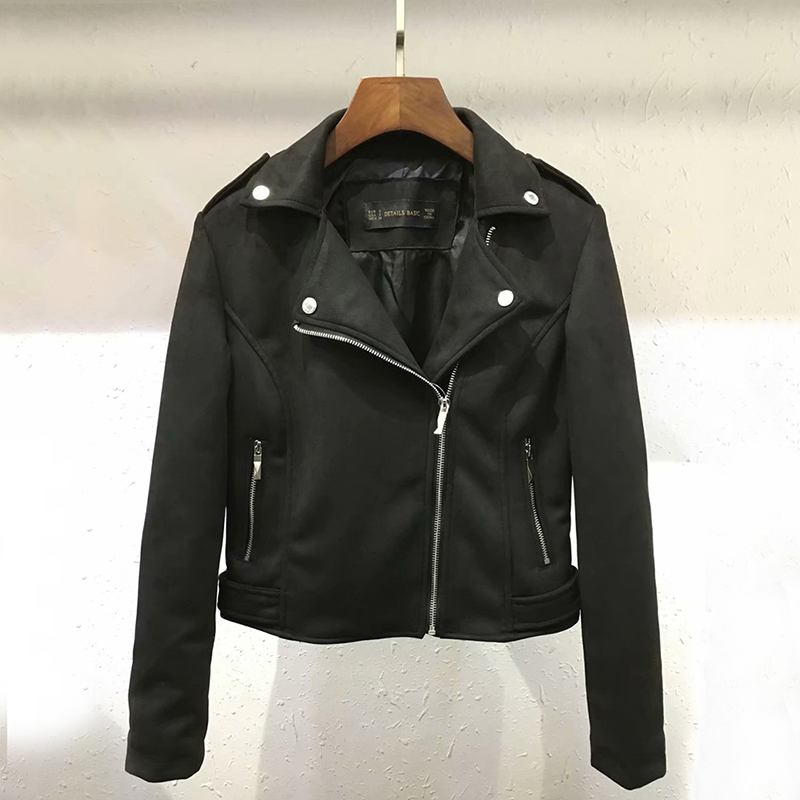 Women Girl Casual Zipper Suede Leather   Jacket   Short Motorcycle Coat Autumn Winter   Basic     Jacket   Women Outerwear Slim Streetwear