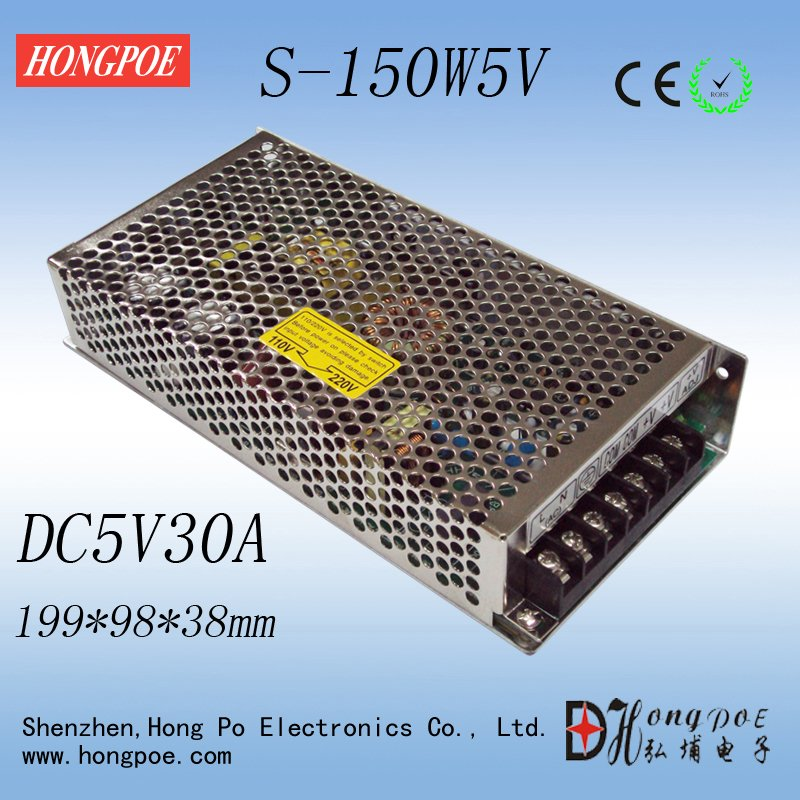 1PCS 5V 30A 150W Switching Power Supply 5V 30A Driver for LED Strip AC-DC 100-240V Input to DC5V S-150-5 power supply 24v 800w dc power adapter ac110 220v non waterproof led driver 33a ups for strip lamps wholesale 1pcs