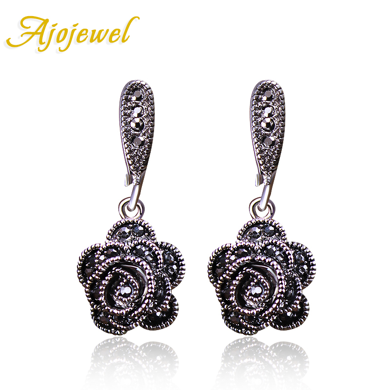 Ajojewel Merek Baru Mode Vintage Earrings Wanita Hitam CZ Rose Flower Drop Earrings Perhiasan Anting Lucu Bijoux