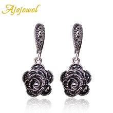 Ajojewel a estrenar pendientes Vintage de moda para mujeres negro CZ Rosa flor gota pendientes joyería pendientes lindo Bijoux