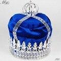 """Королевский синий бархат большой 9 """" коронки король империал средневековый диадемы круглый ясно кристалл конкурс ну вечеринку костюмы для мужчин волосы ювелирных изделий"""