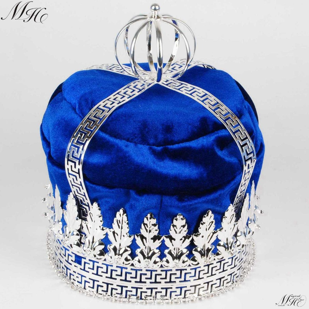 "Royal Blue Velvet Large 9 ""Crowns King Imperial Medieval Tiaras Round Clear Crystal Pageant Party Kostymer For Herre Hårsmykker"