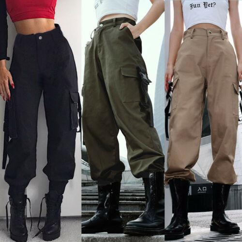 Womens Casual High Waist Pants Hip Hop Dance Military Jogging Hiking Trousers