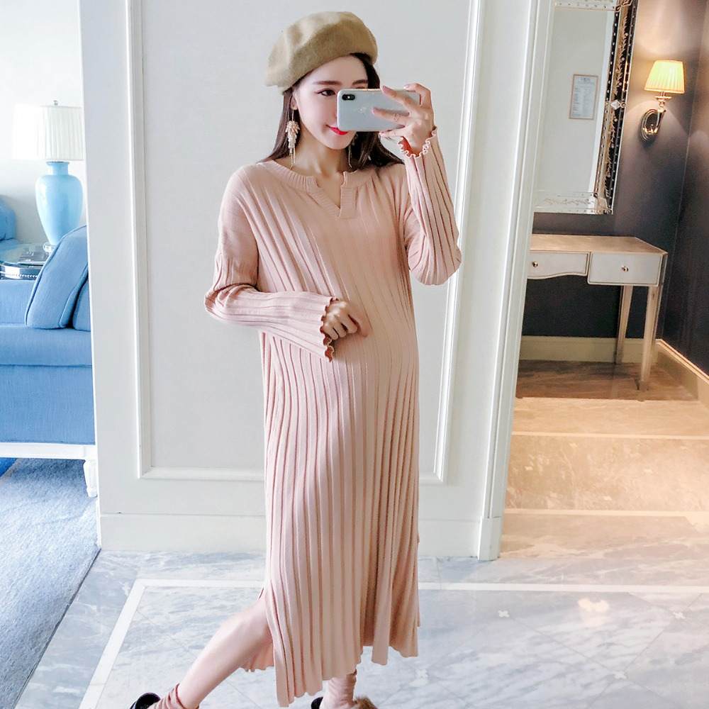Pregnant women sweater autumn 2018 new fashion long sweater dress Korean V-neck loose maternity dress geometric crew neck space dyed sweater