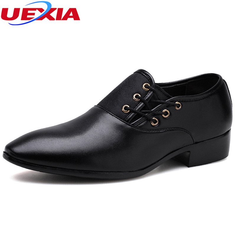 UEXIA Big Size 38-48 Fashion Men Wedding Party Dress Shoes Black Shoes Toe Flats Business Lace-up Formal Pointy Formal Luxury