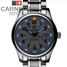 Tritio Luminoso impermeable 200 m buceo Deportivo de la Marca de Lujo Para Hombre Relojes de Cuarzo de Moda correa de cuero reloj militar de acero completo