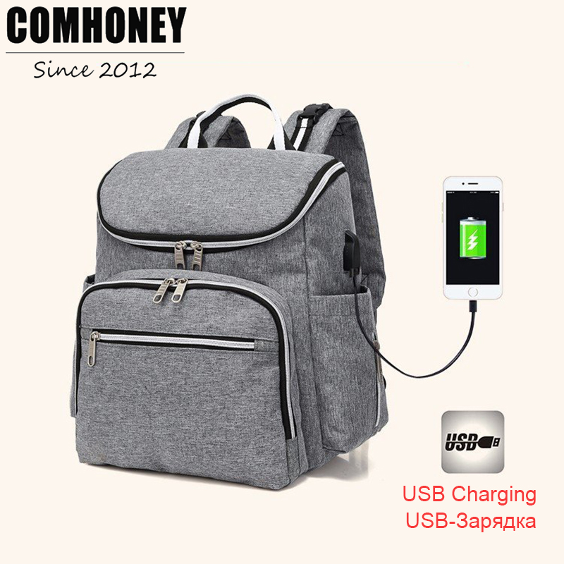 Diaper Bags Backpack USB Charge Fashion Maternity Nappy Changing Travel Organizer Waterproof Large Capacity Baby Care