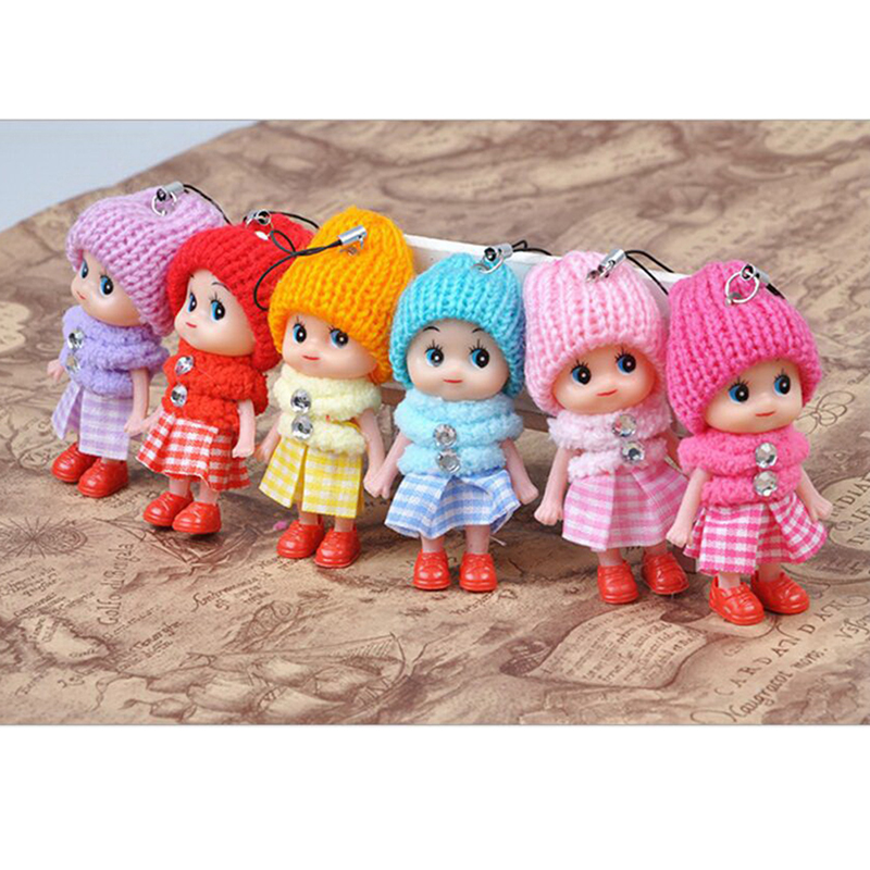Soft Baby Stuffed Toy keyring Cute PVC Toy Kid Plush Dolls keychain Mini Plush Animals key chain baby For girls women Funny Gift mini motorcycle helmet keychain cute keyring