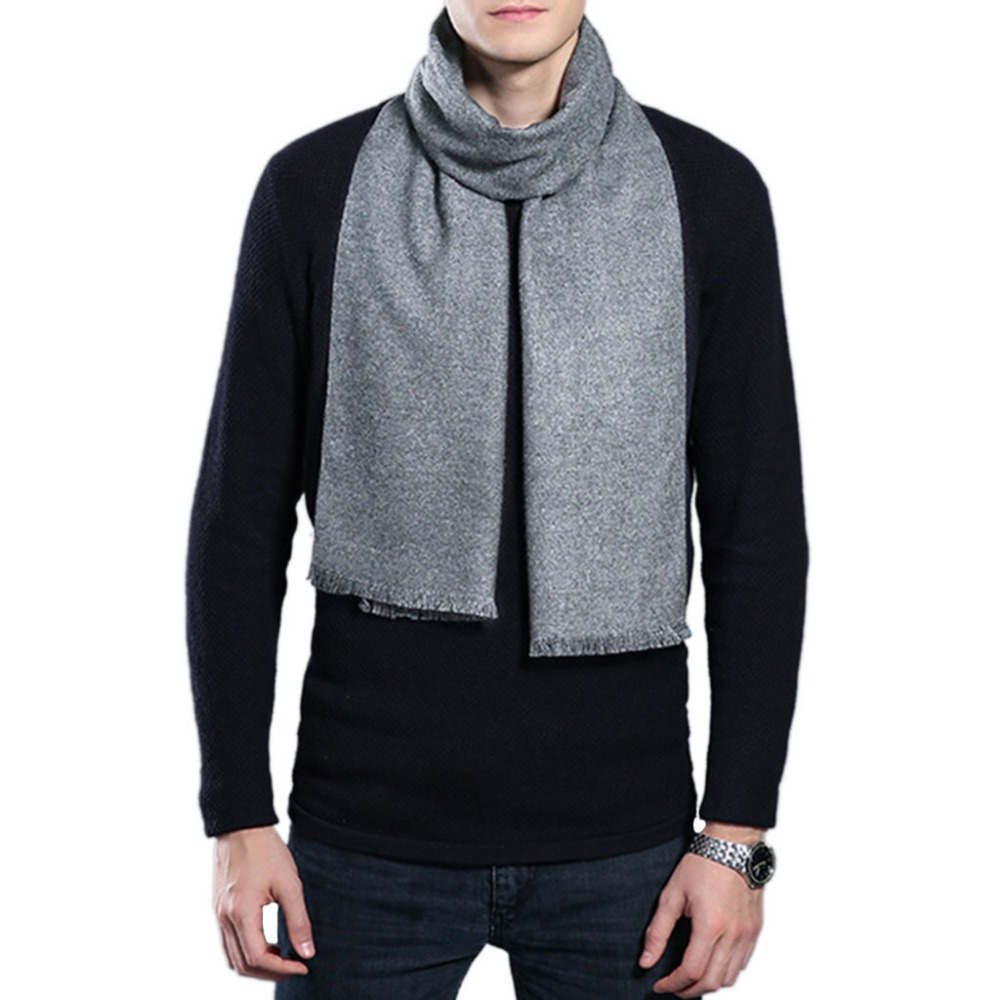 Aufrichtig Herren Winter Einfarbig Schal Quaste Pashmina Warm Wrap 9 Farben Weiche Business
