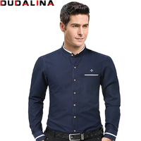 Dudalina Fashion Casual Men Shirt Long Sleeve Mandarin Collar Slim Fit Shirt Men Business Mens Dress