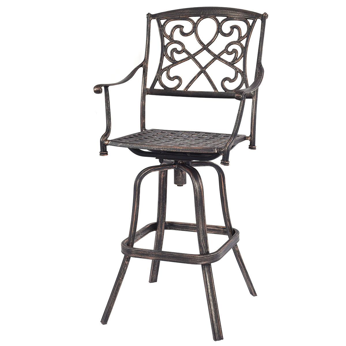 Giantex Cast Aluminum Swivel Bar Stool Patio Furniture Antique Copper Design Bar Chairs Vintage Outdoor Pub Stool Chair HW52421 bar chairs stylish high chair bar stool lift swivel minimalist new specials