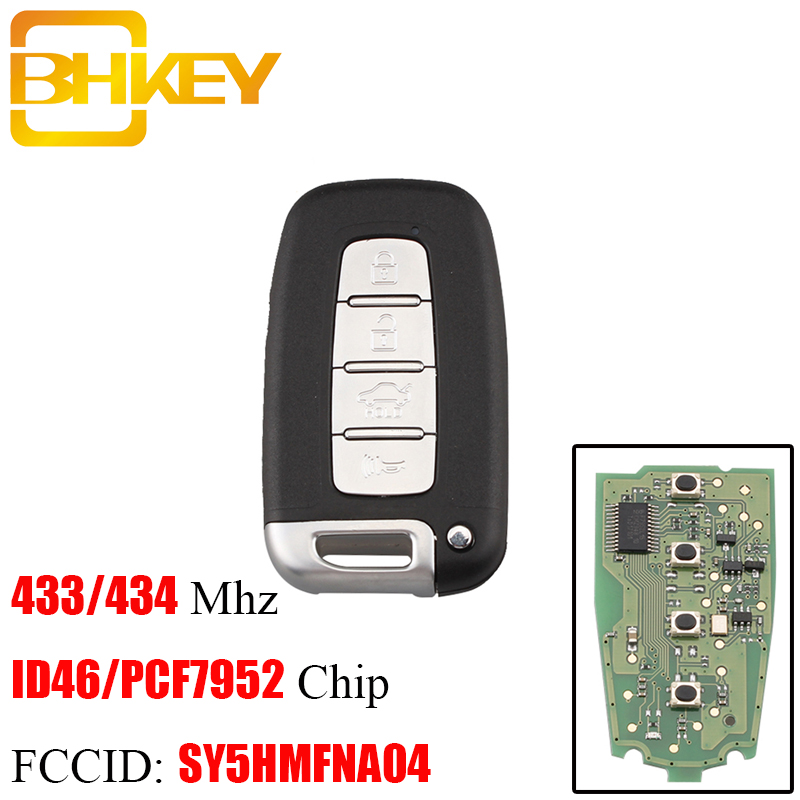 BHKEY 4BT Smart Remote key 433Mhz ID46 Chip For Hyundai I30 IX35 SY5HMFNA04 For Hyundai Sonata Genesis Equus Veloster 2009-2015