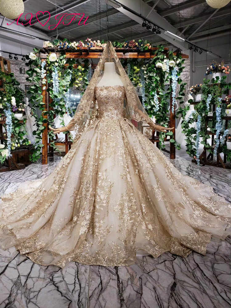 AXJFU Luxury princess gold lace princess strapless beading gold flower sparkly with veil tail wedding dress 100% real photo 1499