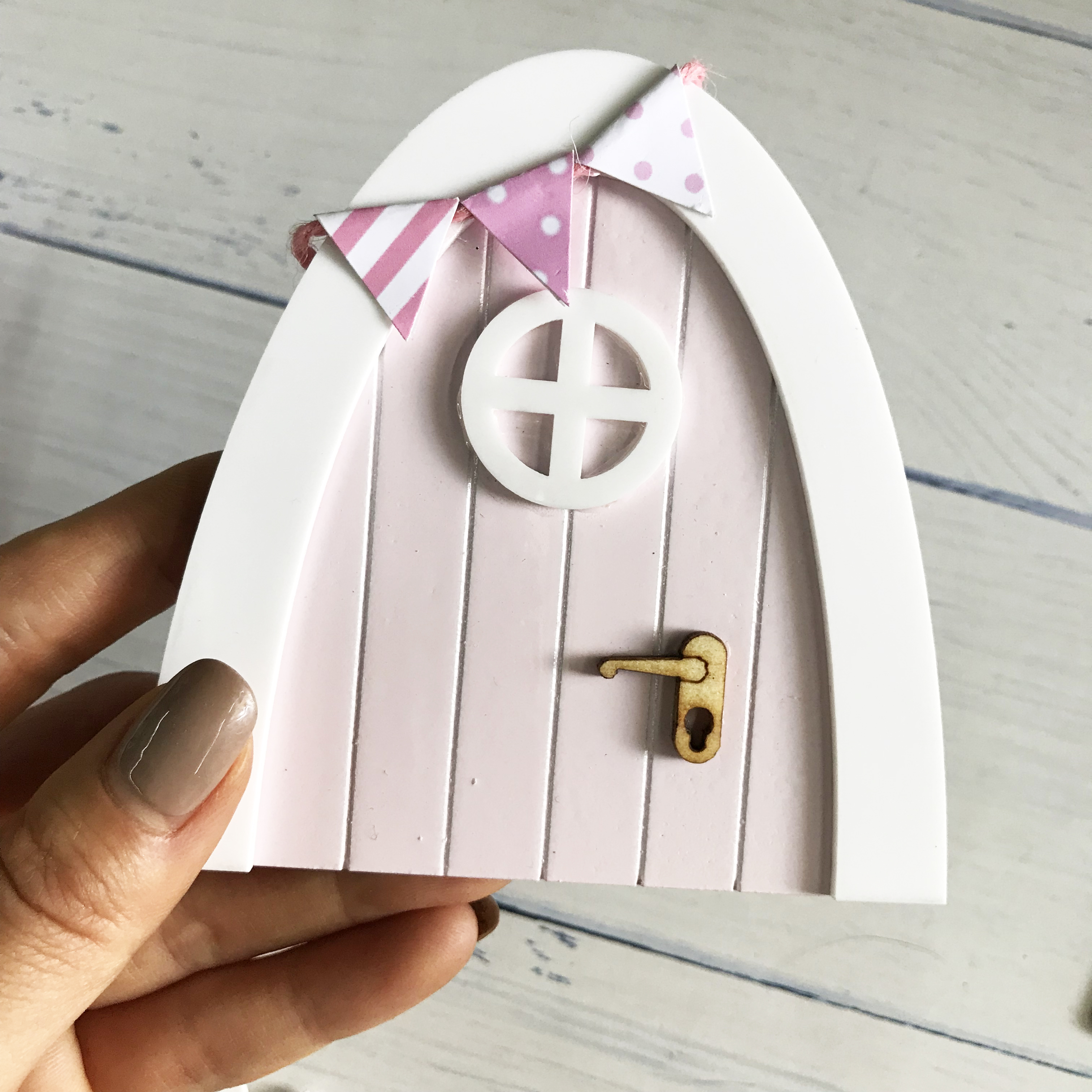 Mini Arch Hand Made Cute pink Fairy door Mouse hole, miniature wooden door with bunting and personalised sign post image