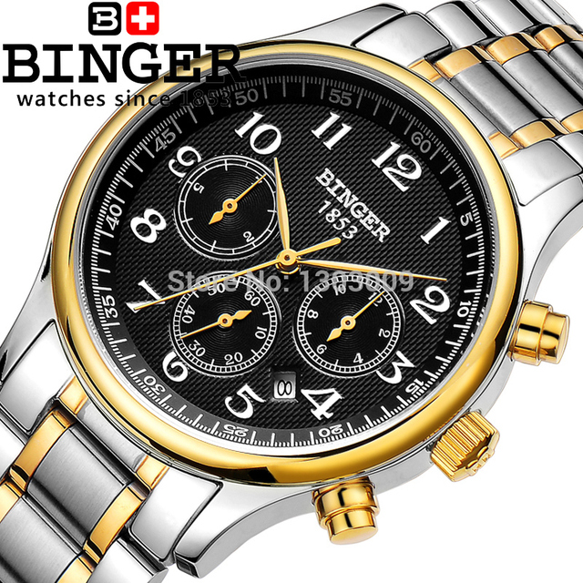 mejor sitio web f1430 e7d83 € 363.33  Caliente de relojes suizos originales hombres BINGER Lot mesa  reloj mecánico automático para hombre deportes militar a prueba de agua ...