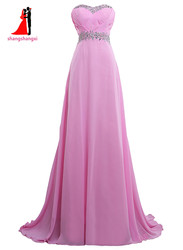 New sweetheart pink long bridesmaid dresses 2017 plus size chiffon wedding party gown with beads maid.jpg 250x250