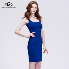 Bella Philosophy 2018 spring summer basic stretchy red blue gray slim tank women dress cotton back split dress women vestidos