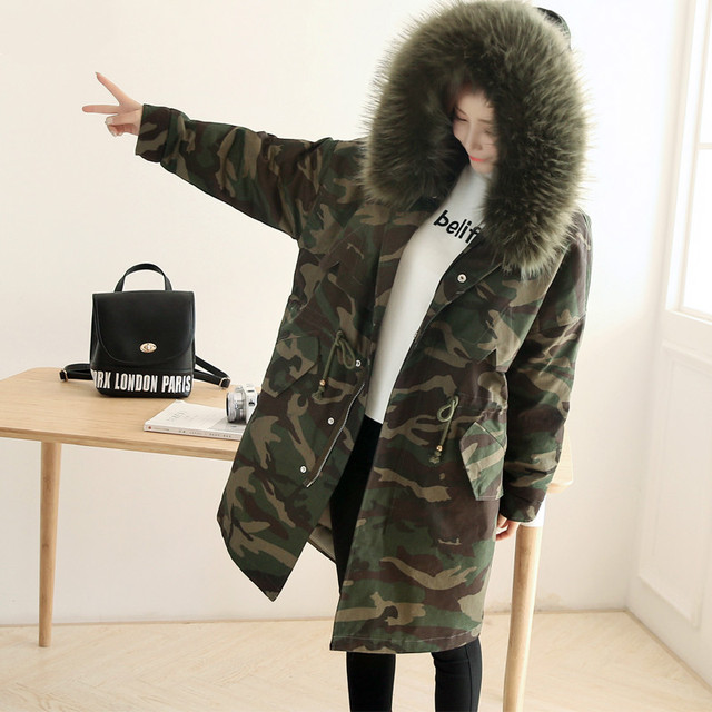 Camouflage Jacket 2016 Autumn Winter Fashion Woman Cotton-padded Coat Large Fur Collar Slim Waist Female Wadded Jacket Parkas
