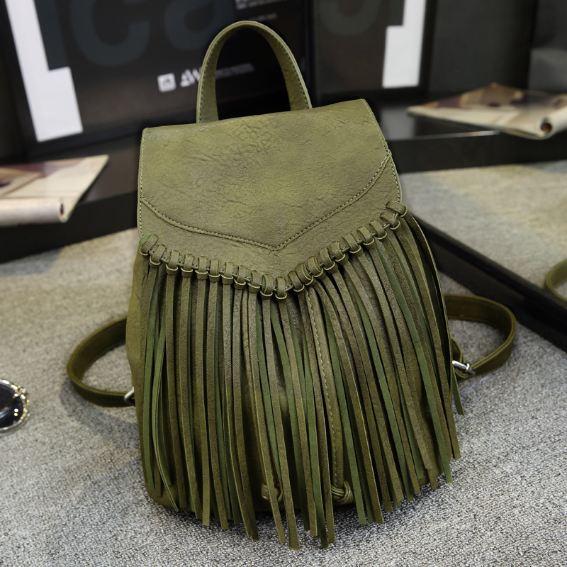 ФОТО 2016 Fashion Tassel Women Backpack High Quality PU Girls Packback Green Black Red Grey Ladies Rucksack For Shopping Work