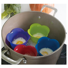 Kuke Solid Color Silicone Egg Poacher Cook Poach Pods Kitchen Cookware Poached Baking Cup