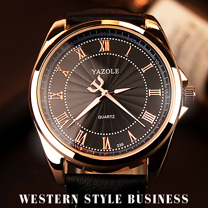 YAZOLE 336 Rose Gold Wrist Watch Brand Luxury Golden Wristwatch Relogio Masculino Quartz Watch hot