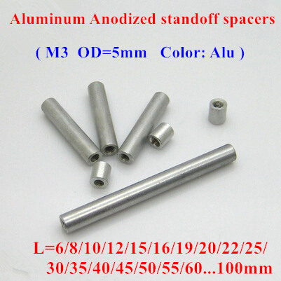 10pcs <font><b>M3</b></font> aluminum rods <font><b>M3</b></font>*6/8/10/12/15/20/25/30/35..60mm Aluminum Alloy round standoff spacer Spacing screws for RC Parts D=5mm image