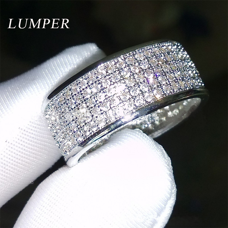 LUNPER Clear Crystal Wedding Rings For Women Fashion Rhinestone Stainless Steel Female Teen Jewelry Anillos Mujer 08
