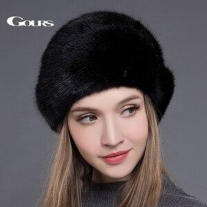 Image 2 - Gors chapéus de pele de vison real inteiro das mulheres chapéus de pele com coroa de luxo moda russa inverno grosso quente alta qualidade boné nova chegada