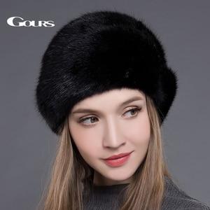 Image 2 - Женская меховая шапка Gours, черная Толстая теплая шапка с короной из натурального меха норки на зиму 2019