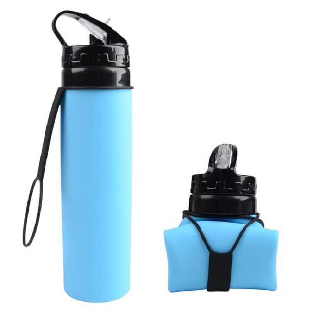 WHISM 600ml Collapsible Foldable Silicone Liter Water Bottles Drinkware for Outdoor Sports Camping Hiking