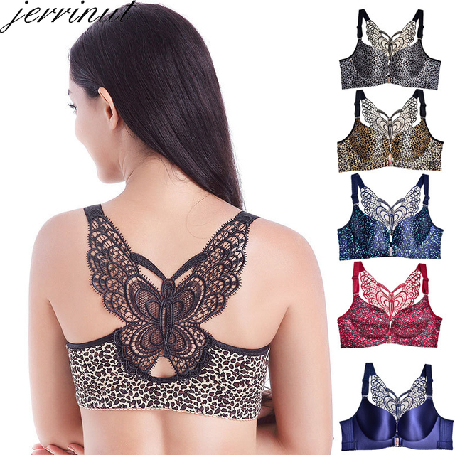 Jerrinut Sujetador sin costuras de talla grande para mujer, sujetador con cierre frontal de leopardo, Bralette, Push Up, ropa interior