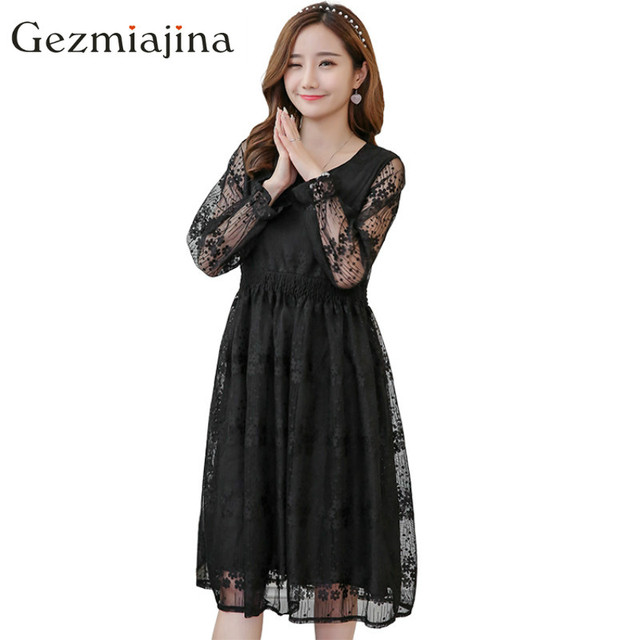 a54546a5207 Fashion spring maternity dress pregnant women Lace flowers in the long  section maternity dresses pregnancy clothing plus size