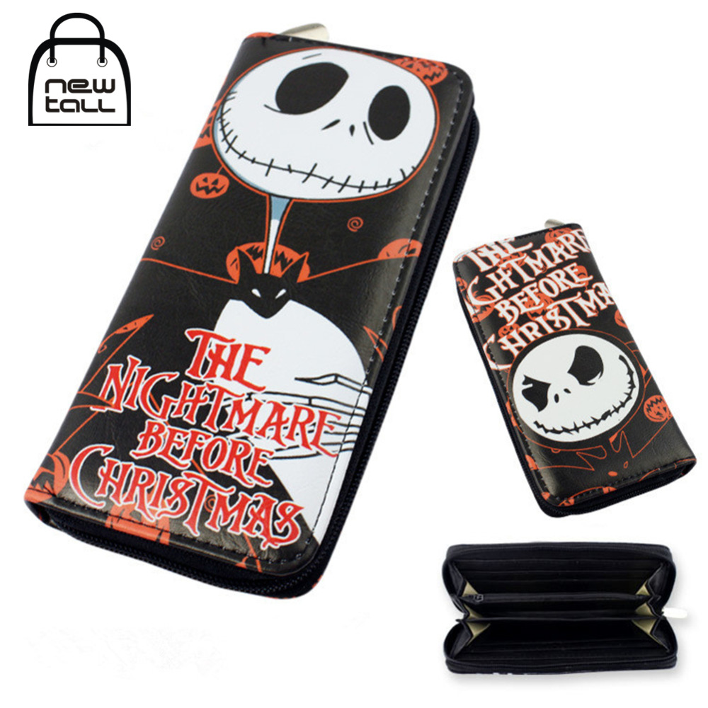 [NEWTALL] Cartoon The Nightmare Before Christmas Jack Skellington PU Leather Long Zipper Purse Card Holder Clutch Wallets T1202 цена и фото