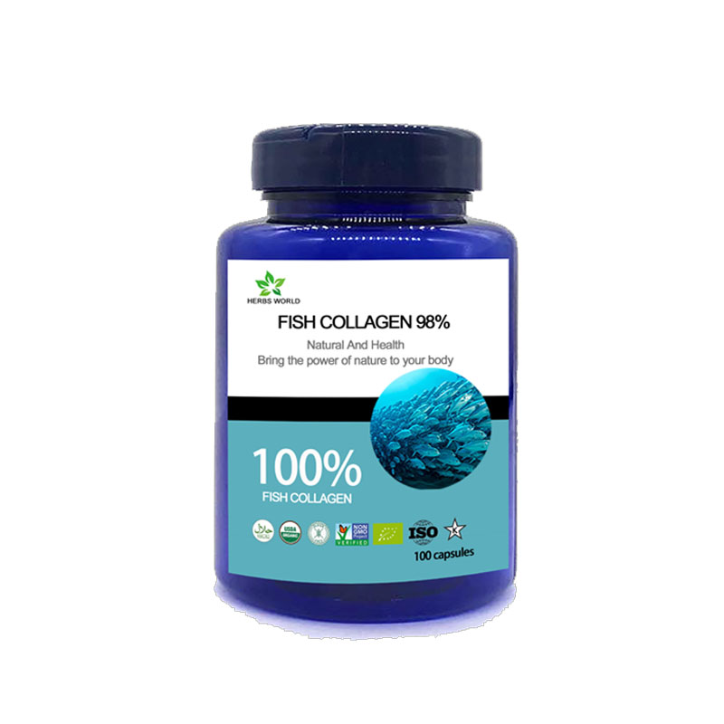 Natural Pure Hydrolyzed Fish Collagen 98% Capsules