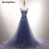 Luxury Long Evening Dress Sequin Floor Length Evening Gown Deep V Blue Gold Red Burgundy Formal Prom Dresses Robe Soiree Longue