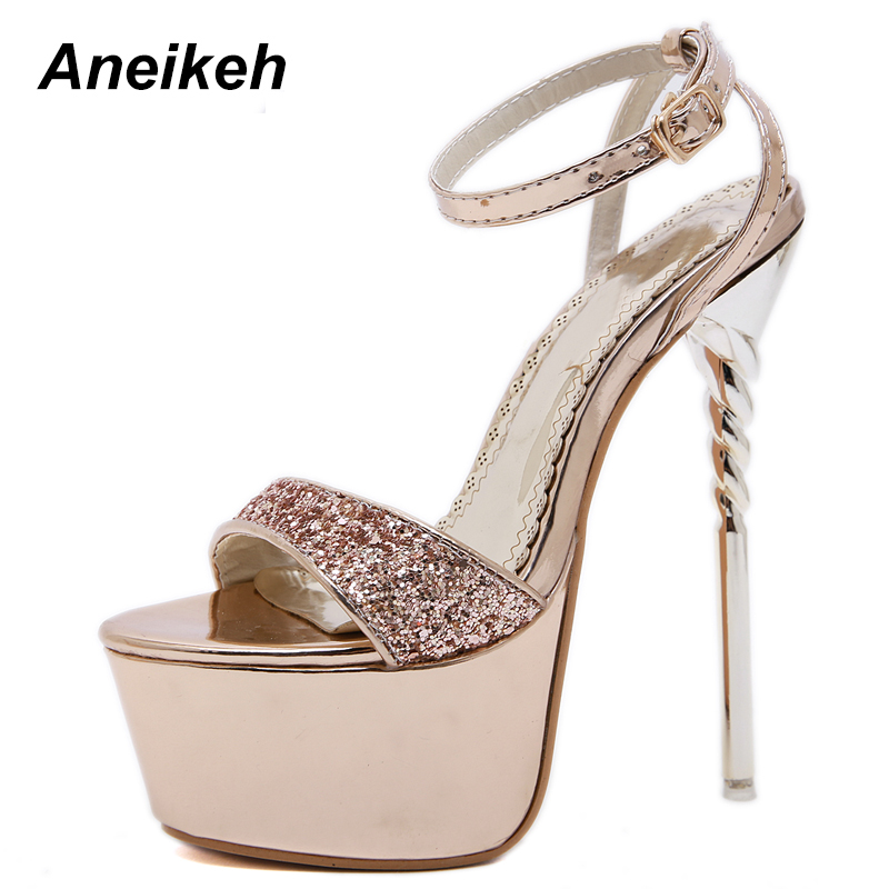 Aneikeh 2019 Sequined Cloth Fashion Summer Thin High Heel Sandals Party Shallow Pointed Toe Solid Buckle Strap Open Shoes 35-40