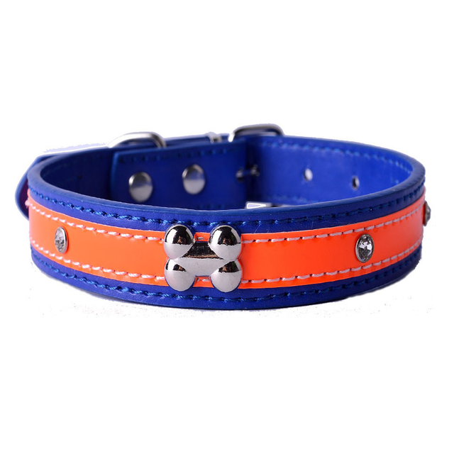 6 Colors Cute Personalized Crystal Studded Reflective Dog Collar Pu Leather Double Color Bones Collars Product Supplies For Pet by Bonytain