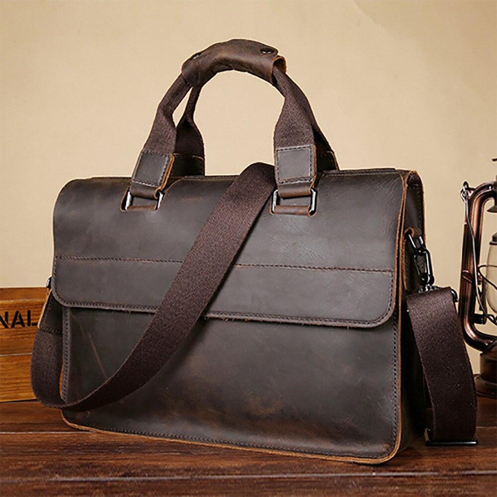 Crazy Horse Cowhide Mens Laptop Shoulder Bag Business Tote Vintage Designer Messenger Bags Genuine Real Leather Male Handbag