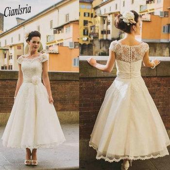 Vintage Tea Length Wedding Dress Boho Ivory Cap Sleeve Bohemian Wedding Dress Lace Sheer Neck Cheap Flower Sash Plus Size