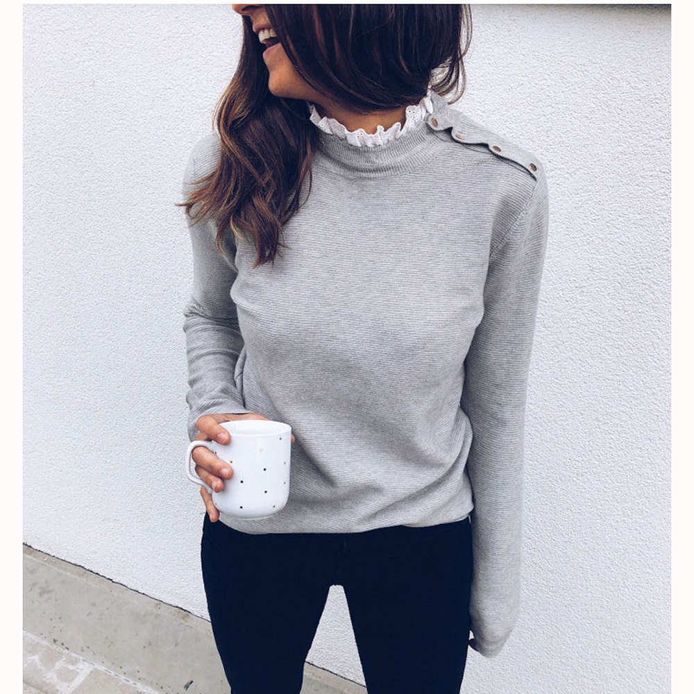 Women lace shirt with button white tops long sleeve o neck blouse casual loose pullover jumper elegant shirt