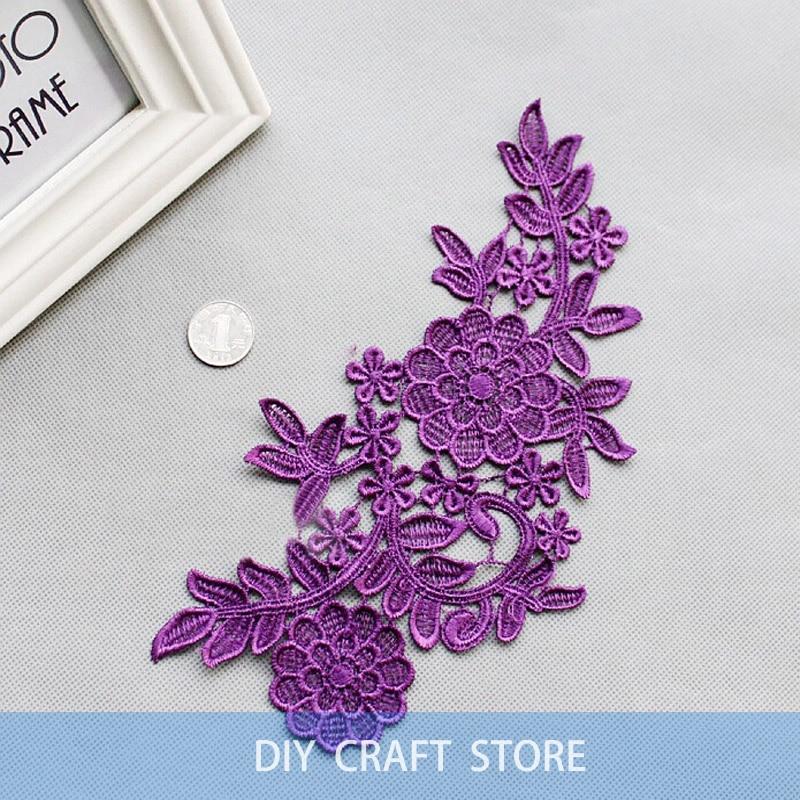 2 unids = 1 par 26 * 15 cm bordado floral soluble en agua de costura - Artes, artesanía y costura - foto 4