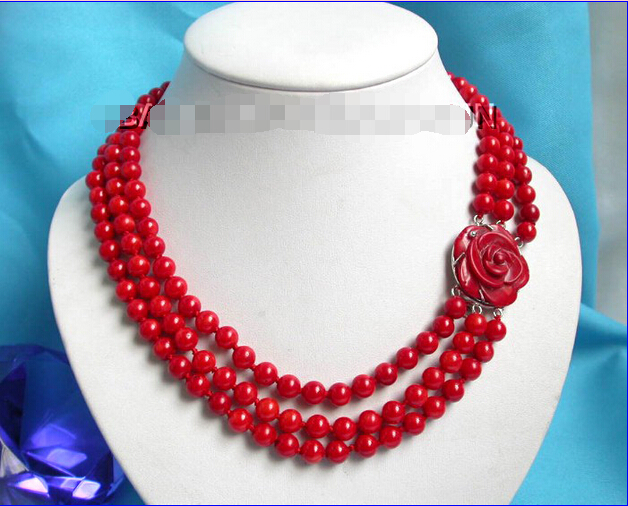 FREE shipping> >>> Elegant! 3row round red coral necklace