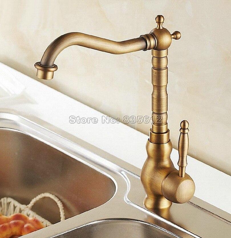 Robinet mitigeur de lavabo de salle de bains en laiton Antique monté sur pont/mitigeur + mitigeur pivotant monotrou Wan001 - 2