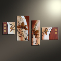 Modern 4 Panel Hand Painted Abstract Flower On Canvas Wall Decor Art for Cafe Store Decoration Unframed Combination Oil Painting