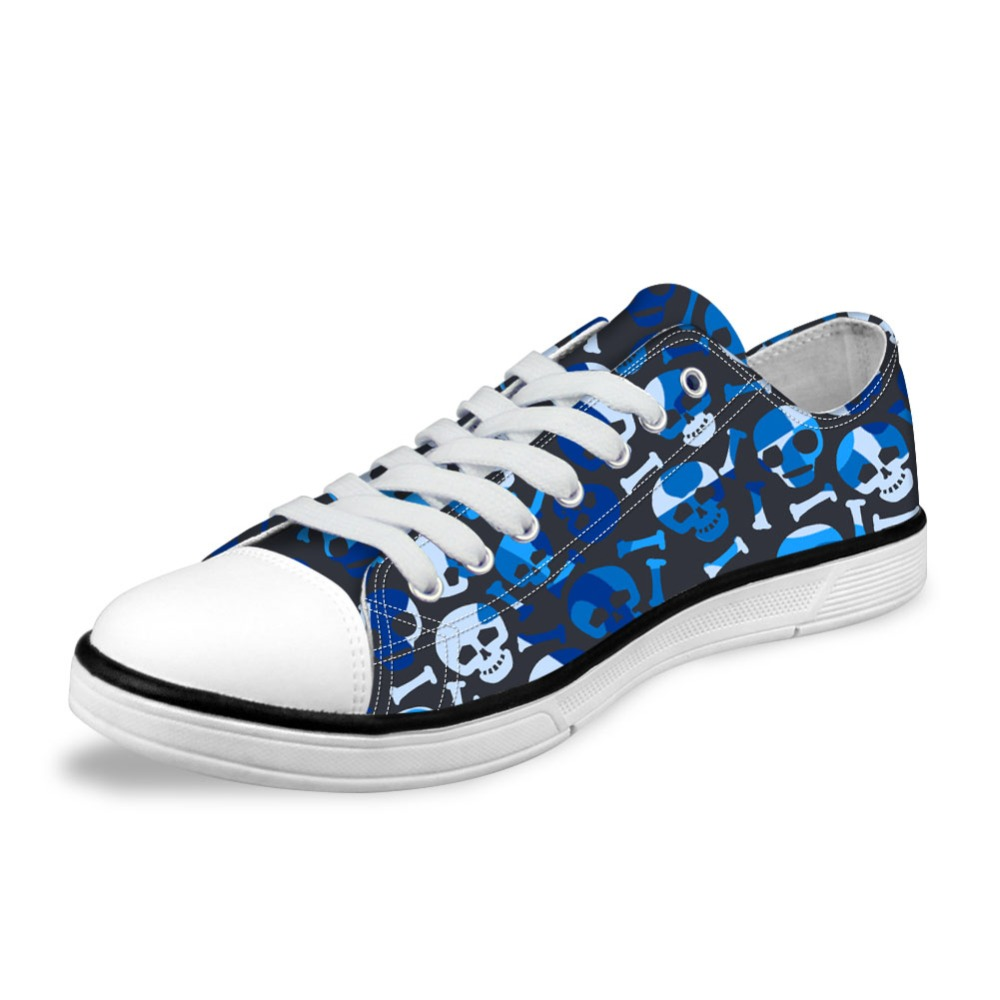 NOISYDESINGS Womens Classic Canvas Shoes 3D Colorful Canvas Shoes Women shose flats Spring Camouflage Skull Printed Shoes Blue